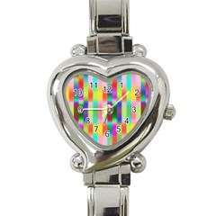 Multicolored Irritation Stripes Heart Italian Charm Watch