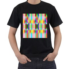 Multicolored Irritation Stripes Men s T Shirt (black) (two Sided)