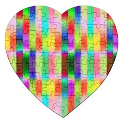 Multicolored Irritation Stripes Jigsaw Puzzle (heart)