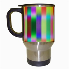 Multicolored Irritation Stripes Travel Mugs (white)