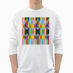 Multicolored Irritation Stripes White Long Sleeve T Shirts