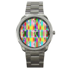 Multicolored Irritation Stripes Sport Metal Watch by designworld65