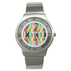 Multicolored Irritation Stripes Stainless Steel Watch by designworld65