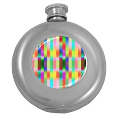 Multicolored Irritation Stripes Round Hip Flask (5 Oz)