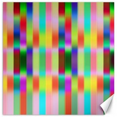 Multicolored Irritation Stripes Canvas 12  X 12