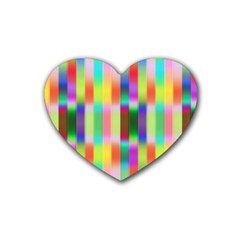 Multicolored Irritation Stripes Heart Coaster (4 Pack)