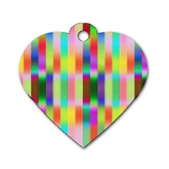 Multicolored Irritation Stripes Dog Tag Heart (two Sides)