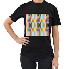 Multicolored Irritation Stripes Women s T Shirt (black)