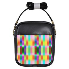 Multicolored Irritation Stripes Girls Sling Bags