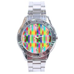 Multicolored Irritation Stripes Stainless Steel Analogue Watch