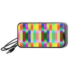 Multicolored Irritation Stripes Portable Speaker (black) by designworld65