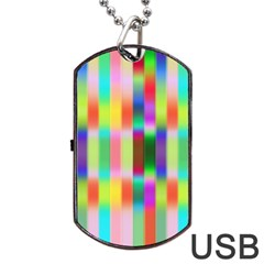 Multicolored Irritation Stripes Dog Tag Usb Flash (one Side)