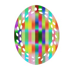Multicolored Irritation Stripes Oval Filigree Ornament (two Sides)