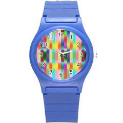 Multicolored Irritation Stripes Round Plastic Sport Watch (s) by designworld65