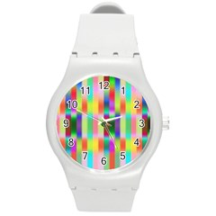Multicolored Irritation Stripes Round Plastic Sport Watch (m)