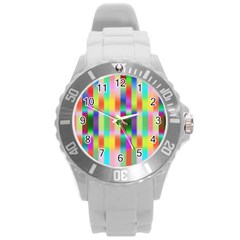 Multicolored Irritation Stripes Round Plastic Sport Watch (l)