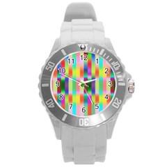 Multicolored Irritation Stripes Round Plastic Sport Watch (l) by designworld65