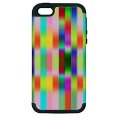 Multicolored Irritation Stripes Apple Iphone 5 Hardshell Case (pc+silicone)