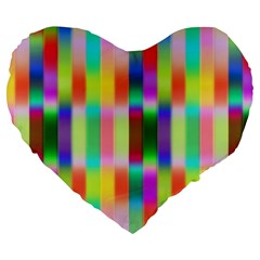 Multicolored Irritation Stripes Large 19  Premium Heart Shape Cushions