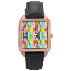 Multicolored Irritation Stripes Rose Gold Leather Watch