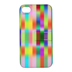 Multicolored Irritation Stripes Apple Iphone 4/4s Hardshell Case With Stand