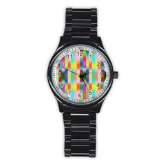 Multicolored Irritation Stripes Stainless Steel Round Watch