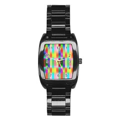 Multicolored Irritation Stripes Stainless Steel Barrel Watch