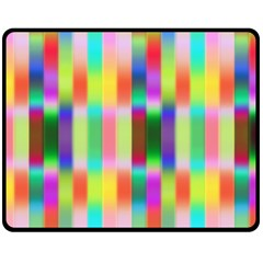 Multicolored Irritation Stripes Double Sided Fleece Blanket (medium)