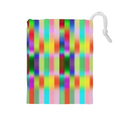 Multicolored Irritation Stripes Drawstring Pouches (large)  by designworld65