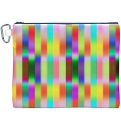 Multicolored Irritation Stripes Canvas Cosmetic Bag (xxxl) by designworld65