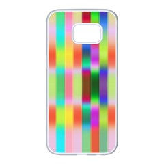 Multicolored Irritation Stripes Samsung Galaxy S7 Edge White Seamless Case by designworld65