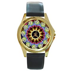 Love Energy Mandala Round Gold Metal Watch