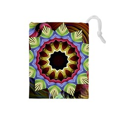Love Energy Mandala Drawstring Pouches (medium)  by designworld65
