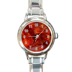 Swirly Love In Deep Red Round Italian Charm Watch