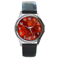 Swirly Love In Deep Red Round Metal Watch
