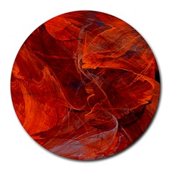 Swirly Love In Deep Red Round Mousepads
