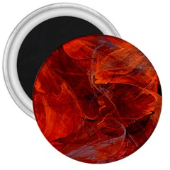 Swirly Love In Deep Red 3  Magnets