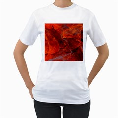 Swirly Love In Deep Red Women s T Shirt (white) (two Sided)