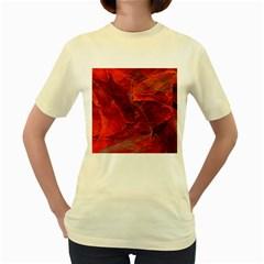 Swirly Love In Deep Red Women s Yellow T Shirt