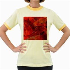 Swirly Love In Deep Red Women s Fitted Ringer T Shirts