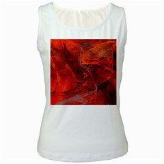 Swirly Love In Deep Red Women s White Tank Top