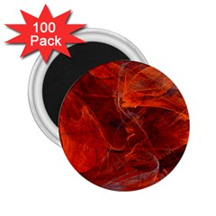 Swirly Love In Deep Red 2 25  Magnets (100 Pack)