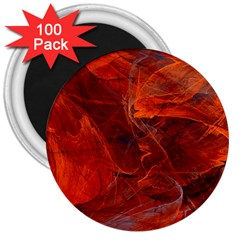 Swirly Love In Deep Red 3  Magnets (100 Pack)