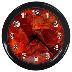 Swirly Love In Deep Red Wall Clocks (black) by designworld65