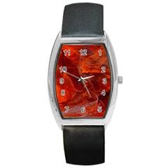 Swirly Love In Deep Red Barrel Style Metal Watch by designworld65