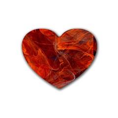 Swirly Love In Deep Red Rubber Coaster (heart)  by designworld65