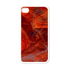 Swirly Love In Deep Red Apple Iphone 4 Case (white)