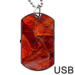 Swirly Love In Deep Red Dog Tag Usb Flash (one Side)