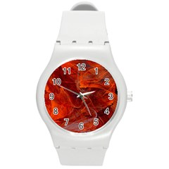 Swirly Love In Deep Red Round Plastic Sport Watch (m)