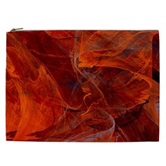 Swirly Love In Deep Red Cosmetic Bag (xxl)